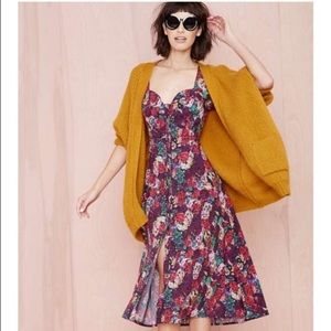 Nasty Gal Floral Button Front Midi Dress